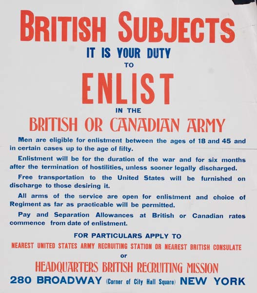 British Subjects It Is Your Duty to Enlist Original British WWI Poster