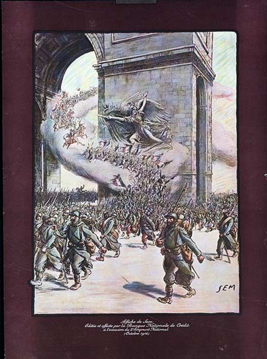 Affiche de Sem Editee et Offerte Par la Banque Nationale de Credit Original French WWI Poster