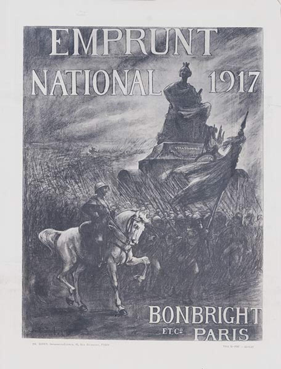 Emprunt National 1917 Bonbright et c Paris Original French WWI Poster