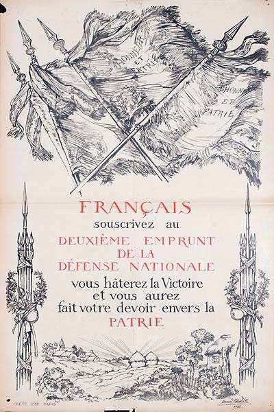Francais Souscrivez ad Deuxieme Empraunt De La Defense Nationale Original French WWI Poster