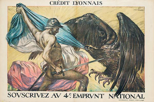 Original WWI French Bond Poster Credit Lyonnais 4eme Emprunt