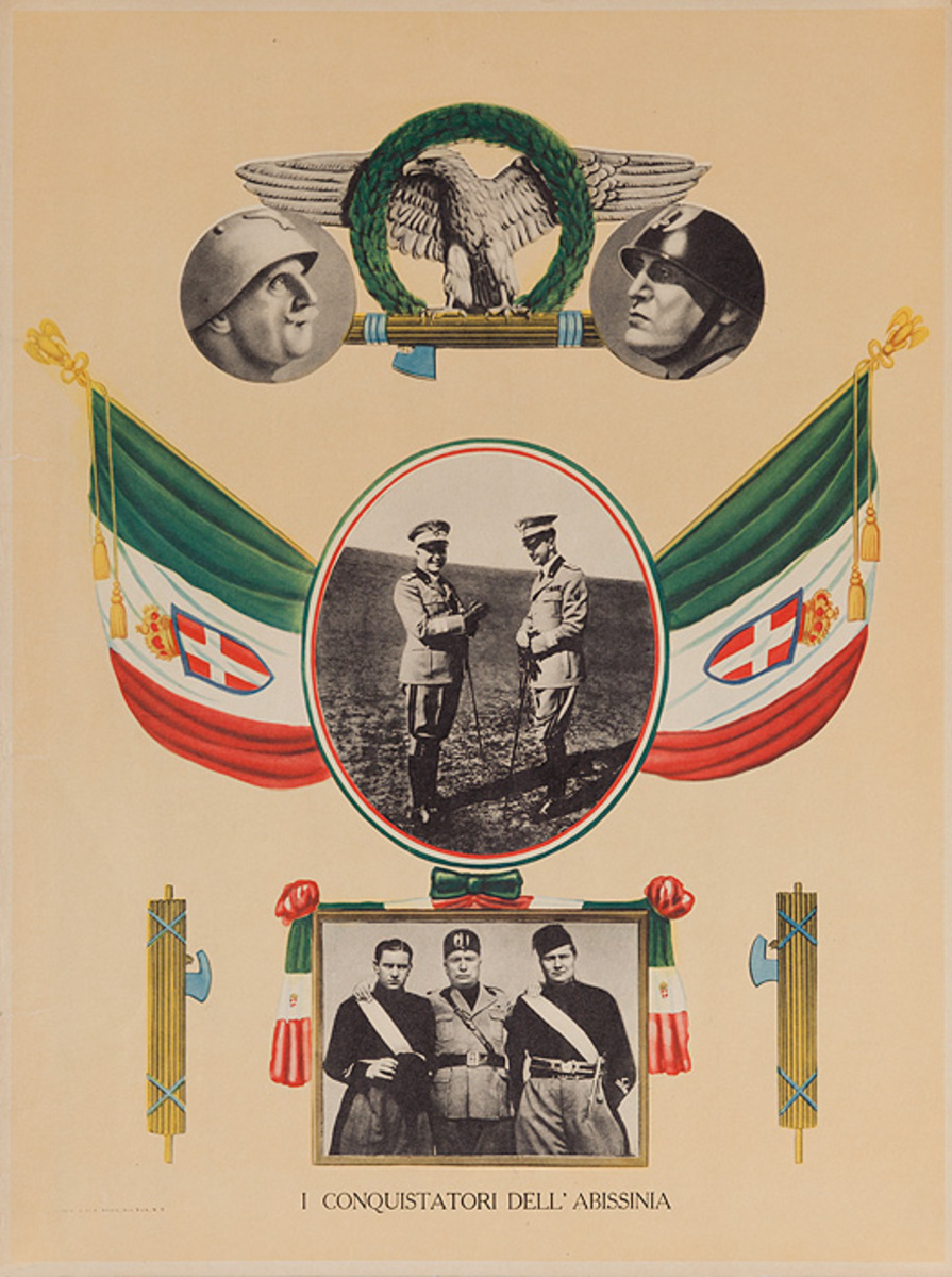 I Conquistatori Dell' Abissinia  Original WWII Benito Mussolini Poster