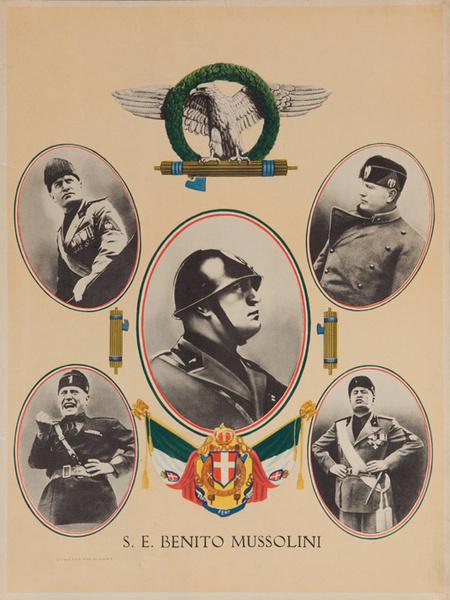 Original WWII S E Benito Mussolini Poster