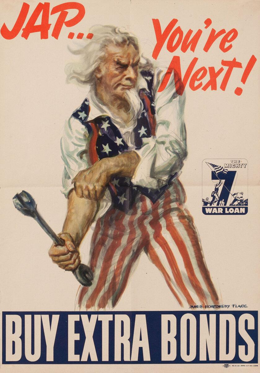 Jap You're Next Buy Extra Bonds Original American WWII Poster