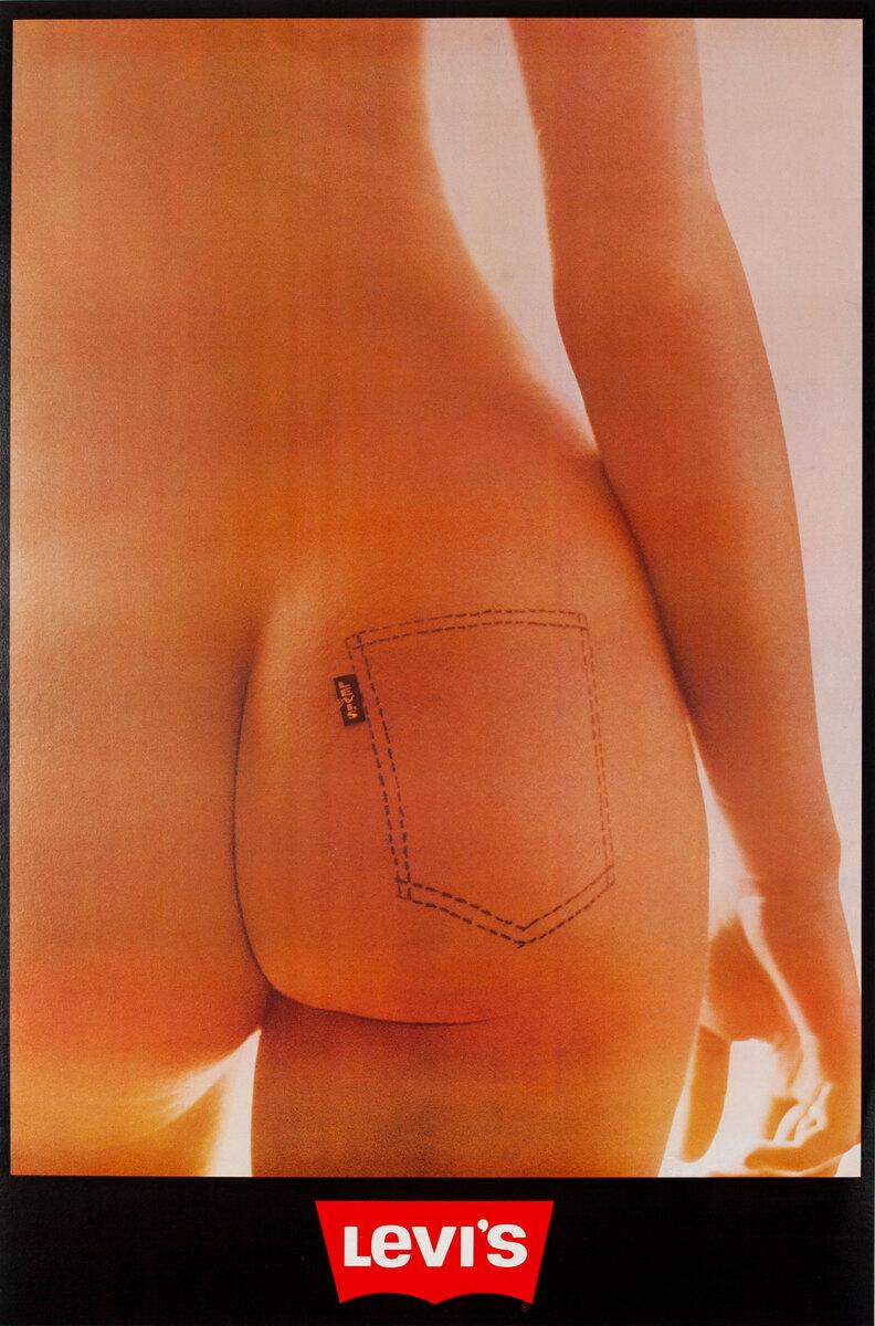 Original Levi's Blue Jeans Poster Naked Rear