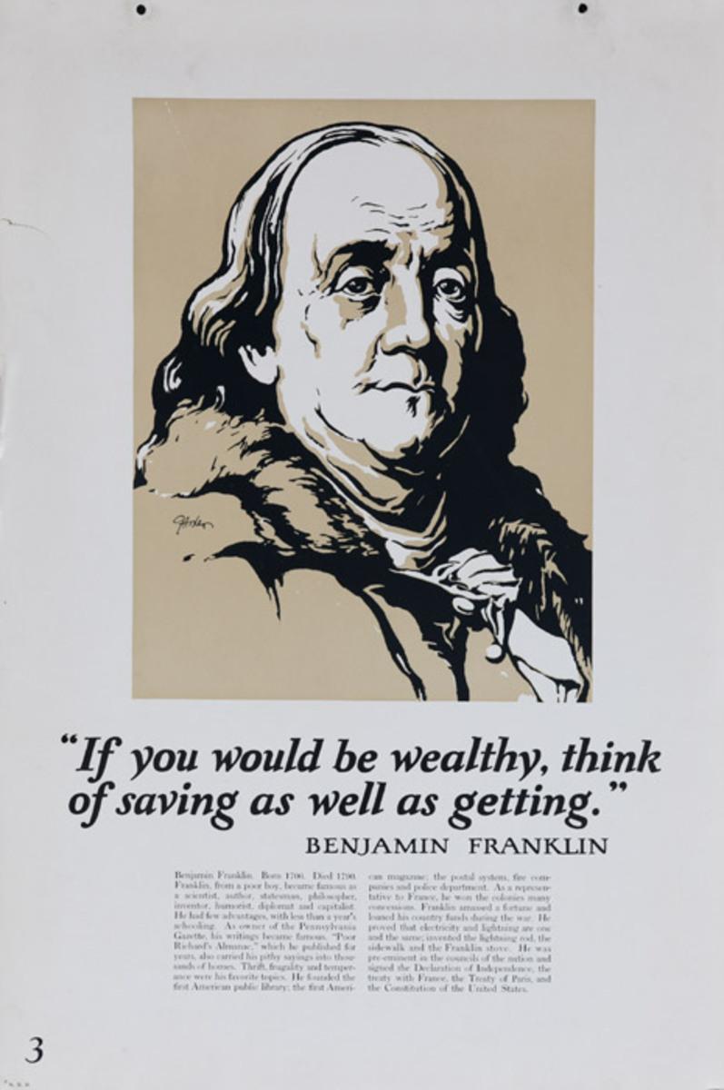 Original 1920s Bank Finance Poster Ben Franklin Quote