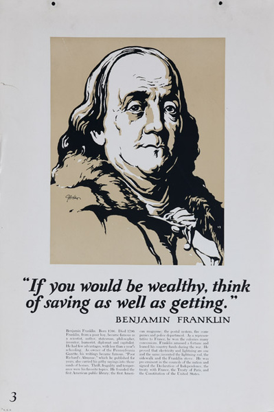 Original 1920s Bank Finance Poster Ben Franklin Quote