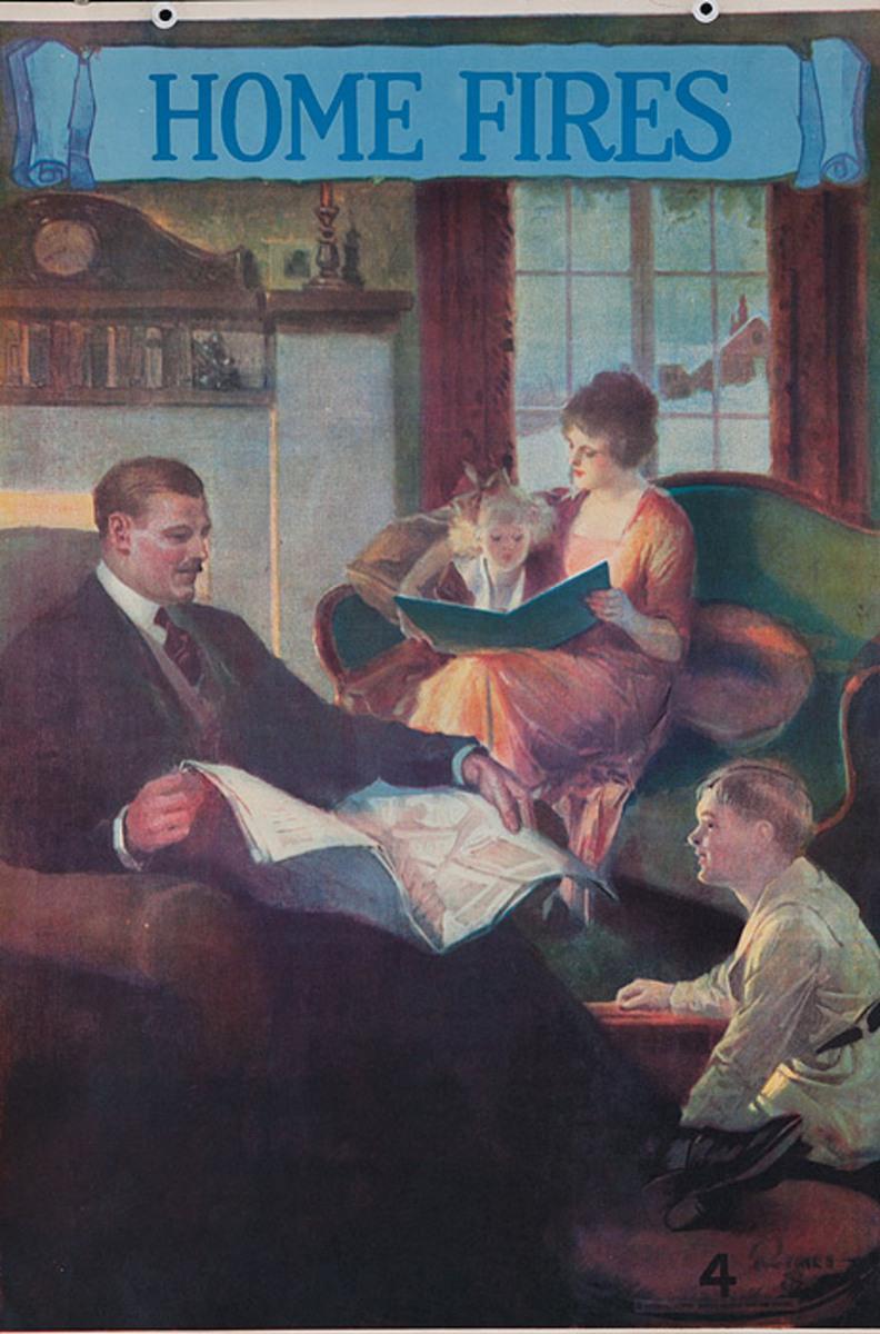 Original 1920s Bank Finance Poster Home Fires