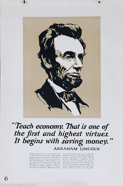 Original 1920s Bank Finance Poster  Abraham Lincoln Quote