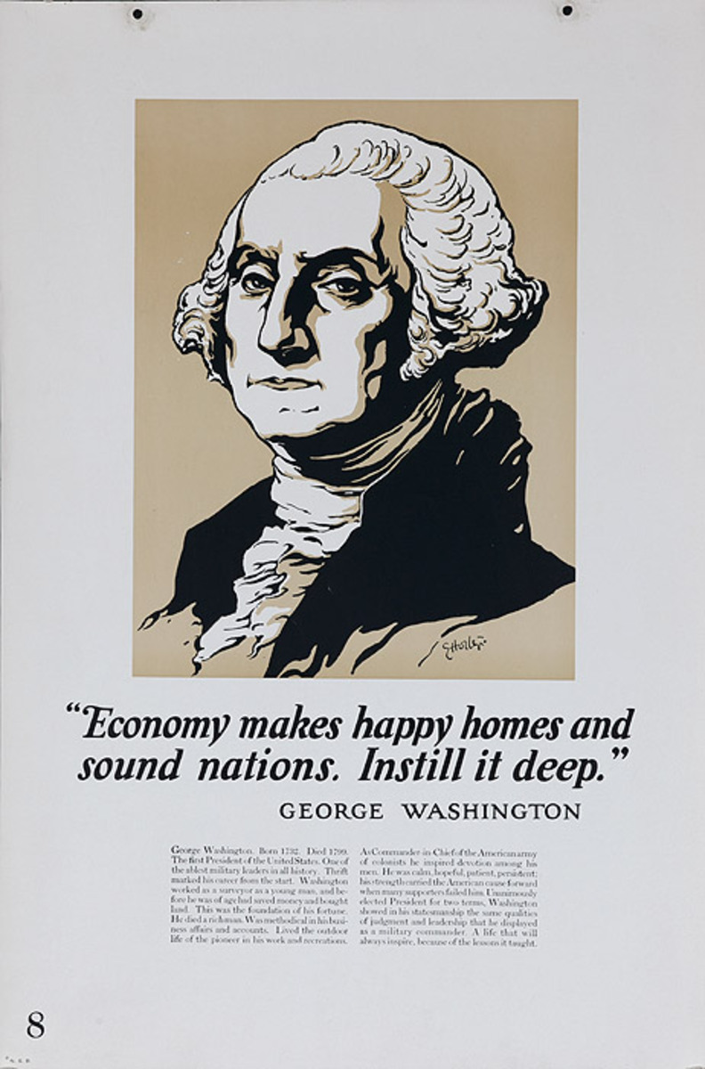 Original 1920s Bank Finance Poster George Washington Quote