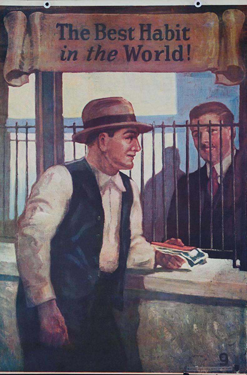 Original 1920s Bank Finance Poster The Best Habit in The World