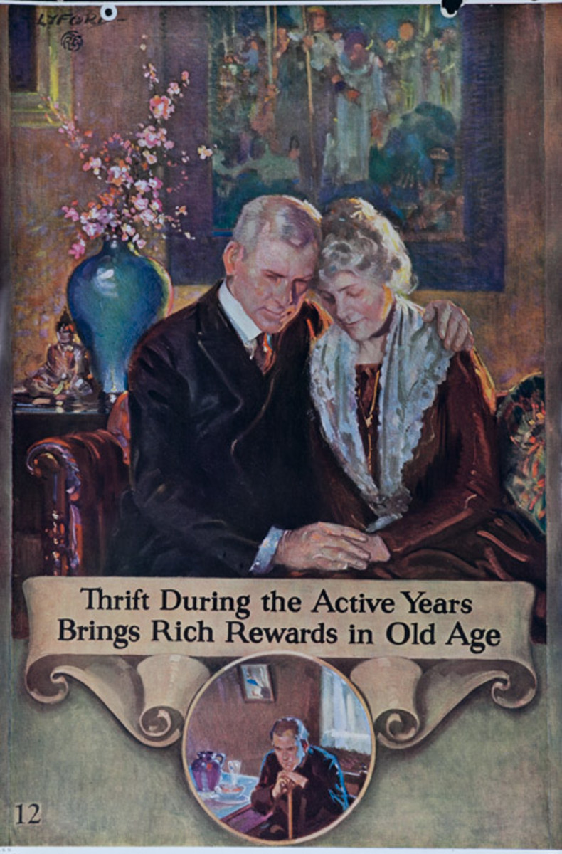 Original 1920s Bank Finance Poster Thrift During the Active Years Brings Rich Rewards in Old Age