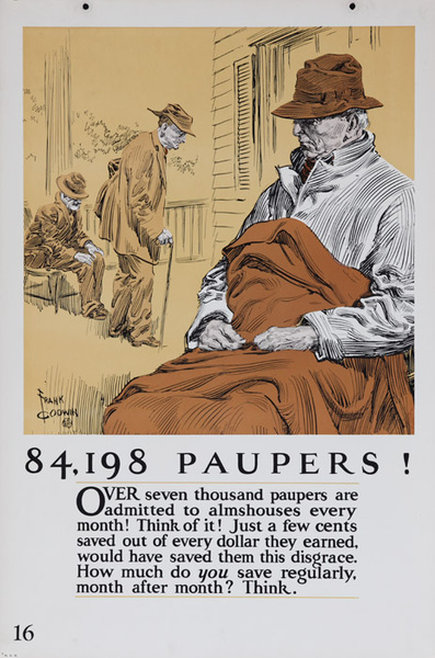 Original 1920s Bank Finance Poster 84,198 Paupers!