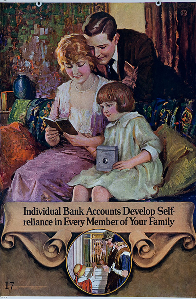 Original 1920s Bank Finance Poster Individual Bank Accounts Develop Self-reliance in Every Member of Youtr Family