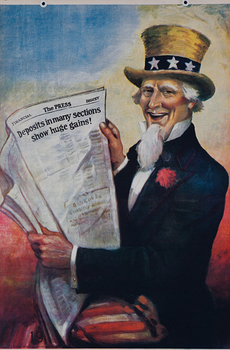 Original 1920s Uncle Sam Bank Finance Poster Deposits in Many Sections Show Huge Gains!
