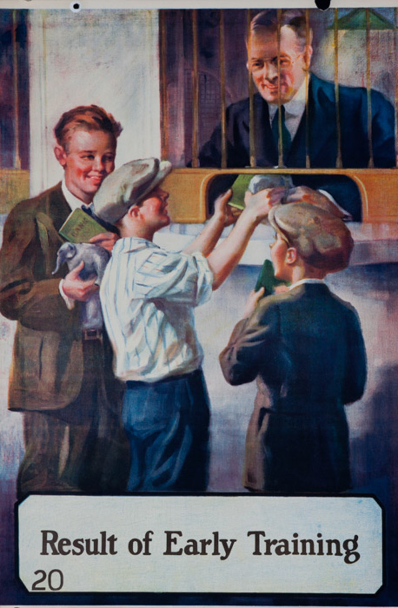 Original 1920s Bank Finance Poster Result of Early Training