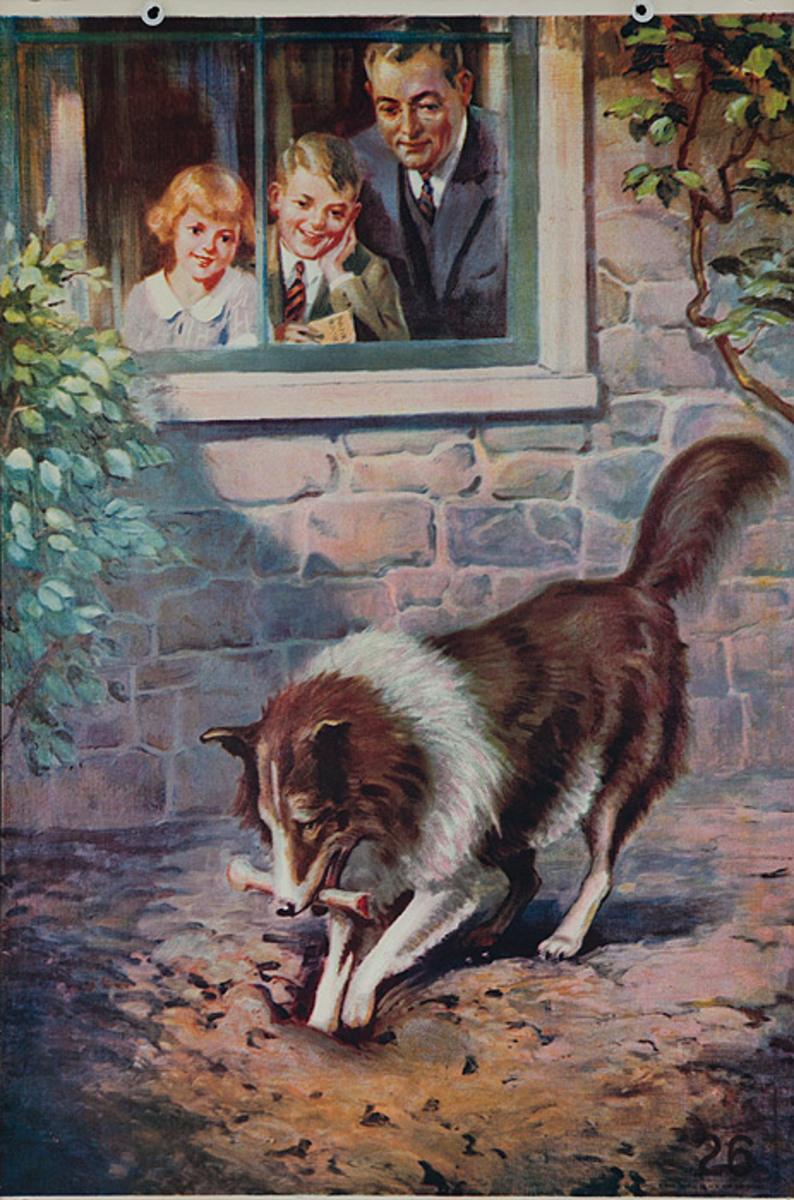 Original 1920s Bank Finance Poster Collie Burying Bone