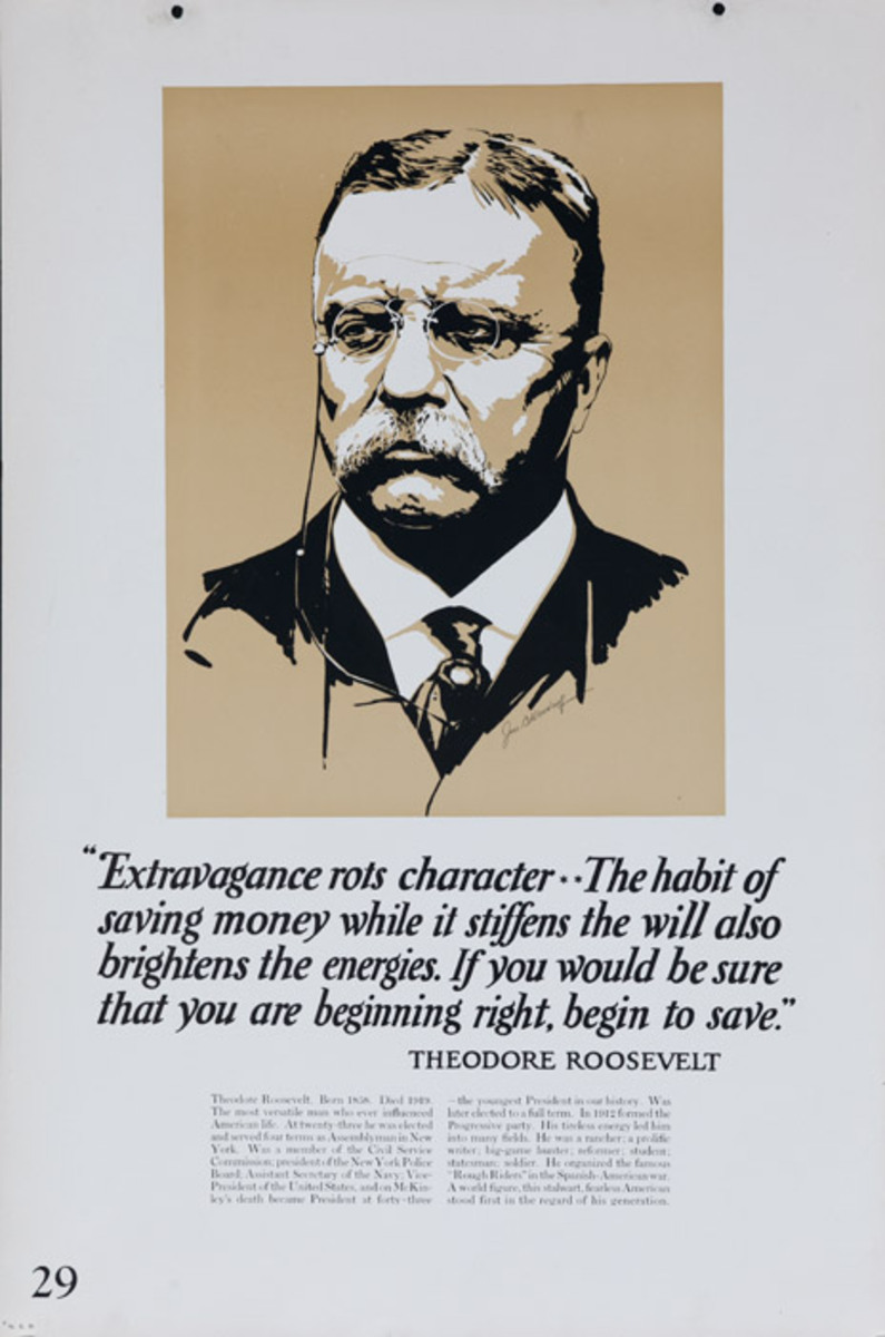 Original 1920s Bank Finance Poster Theodore Roosevelt Quote