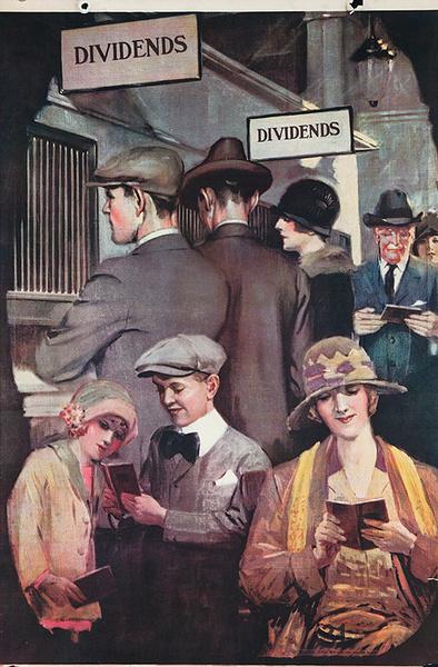 Original 1920s Bank Finance Poster Dividends