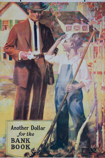 Original 1920s Bank Finance Poster Another Dollar for the Bank Book