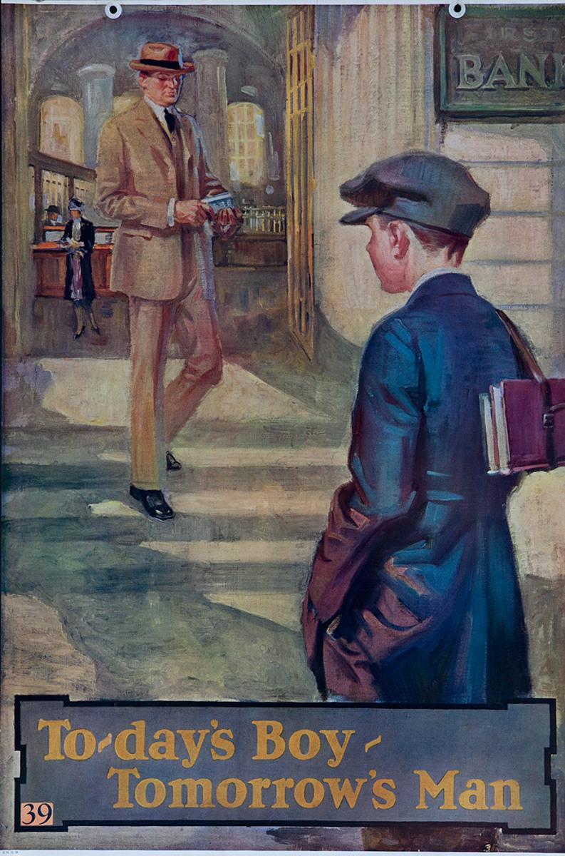 Original 1920s Bank Finance Poster To-day's Boy - Tomorrow's Man