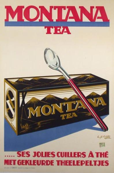 Montana Tea Original Belgian Advertising Poster