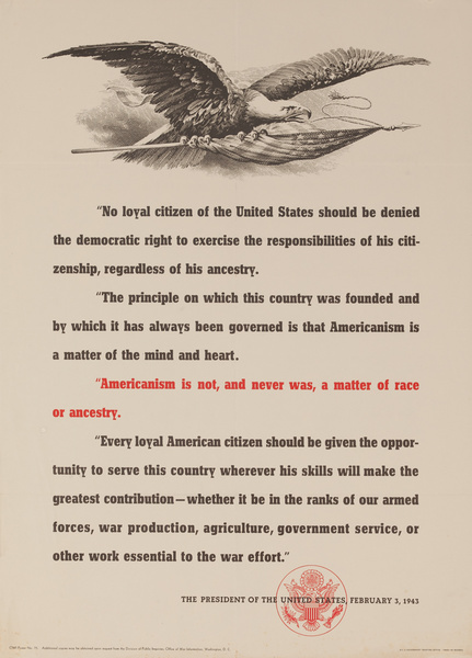 Americanism is Not, and Never Was, a Matter of Race or Ancestry Original American WWII Poster