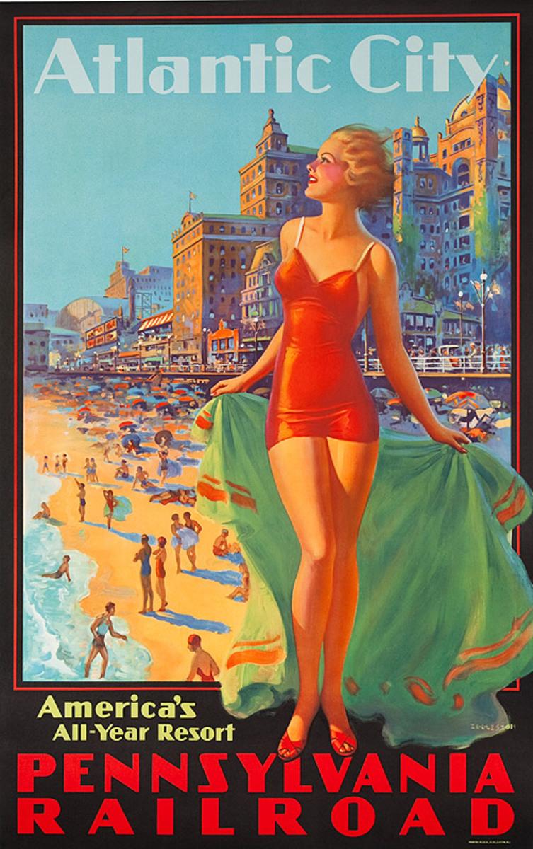 Pennsylvania Railroad Original American Travel Poster Atlantic City America's All Year Resort