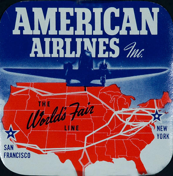 American Airlines The World's Fair Line Original Luggage Label