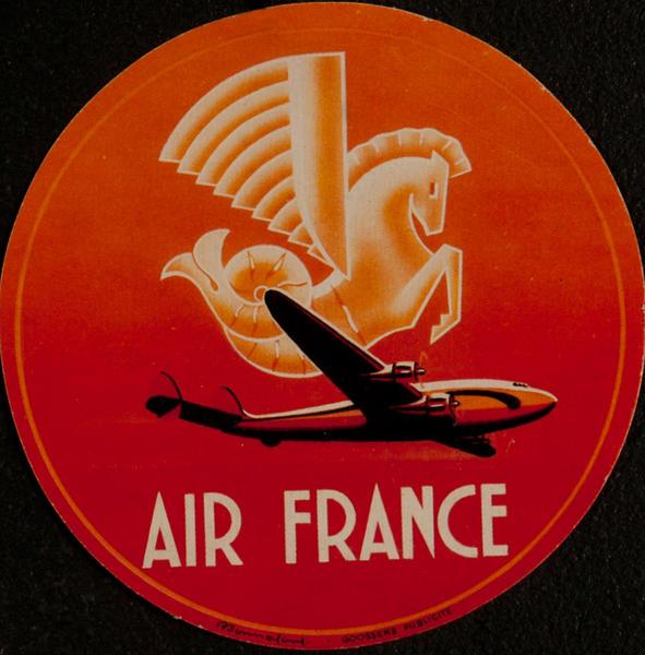 Original Air France Luggage Label round