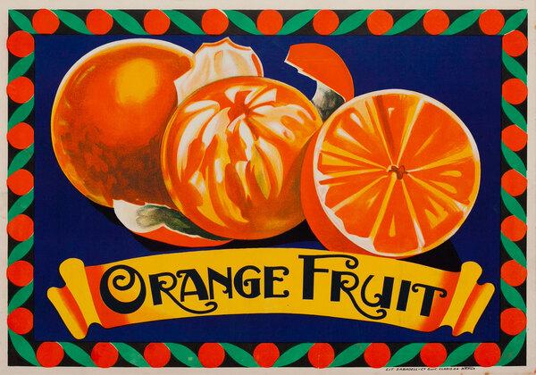 Spanish Orange Fruit Original Vintage Advertising Poster