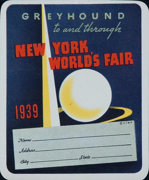 Greyhound To and Through New York World's Fair  Original Luggage Label