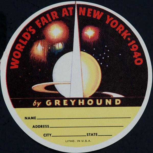 World's Fair AT New York by Greyhound Original Luggage Label round