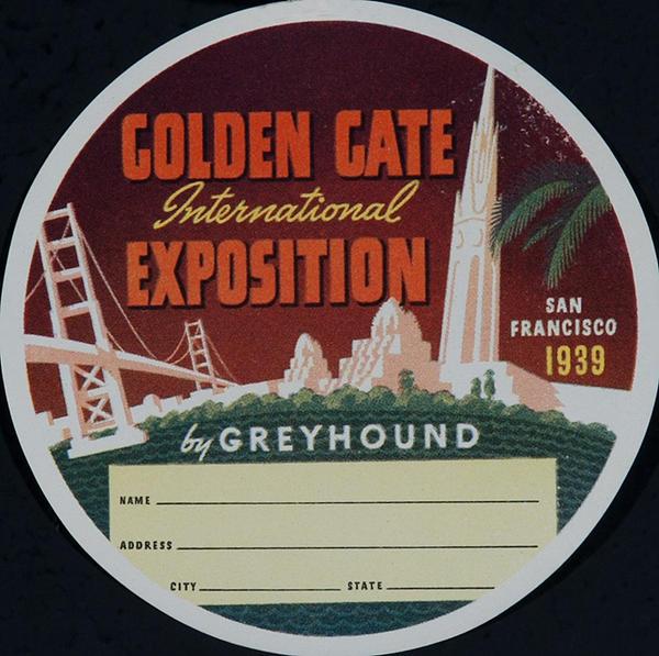 Golden Gate International Exposition Original Greyhound Bus Luggage Label round