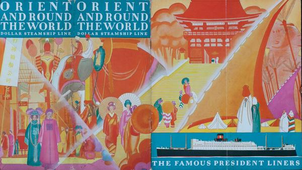 Orient and Round the World Original Dollar Steamship Line Travel Brochure
