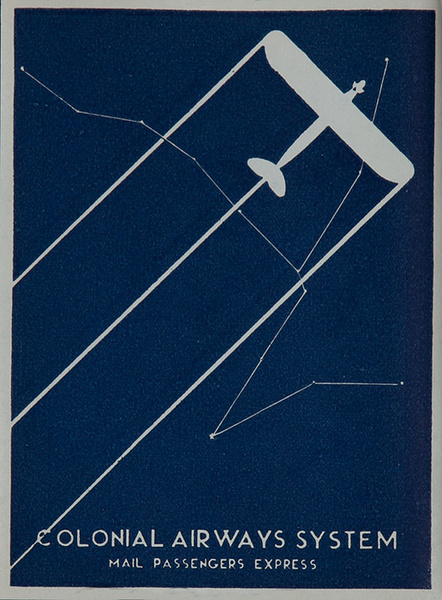 Colonial Airways System Mail Passenger Express Original Luggage Label
