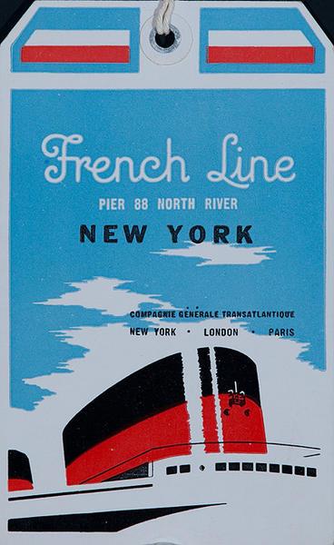 French Line New York Original Luggage Tag (v)