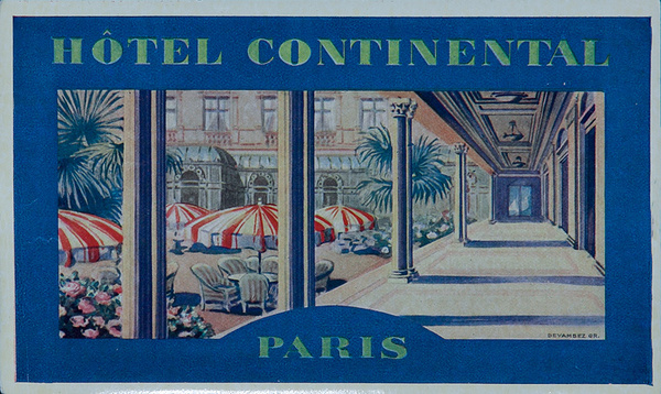 Hotel Continental Paris Original French Luggage Label