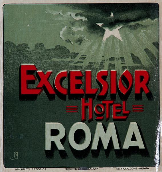 Exclessior Hotel Rome Italy Original Luggage Label