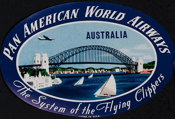 Pan American World Airways Original Luggage Label Australia
