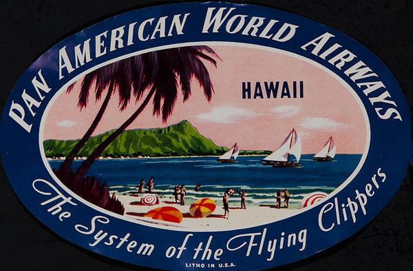 Pan American World Airways Original Luggage Label Hawaii