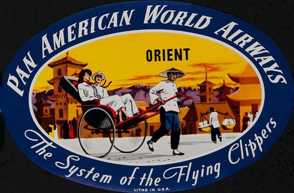 Pan American World Airways Original Luggage Label Orient