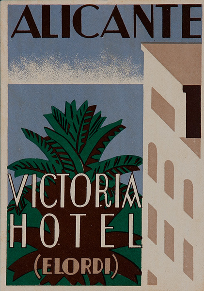 Alcante Victoria Hotel Spain Original Luggage Label