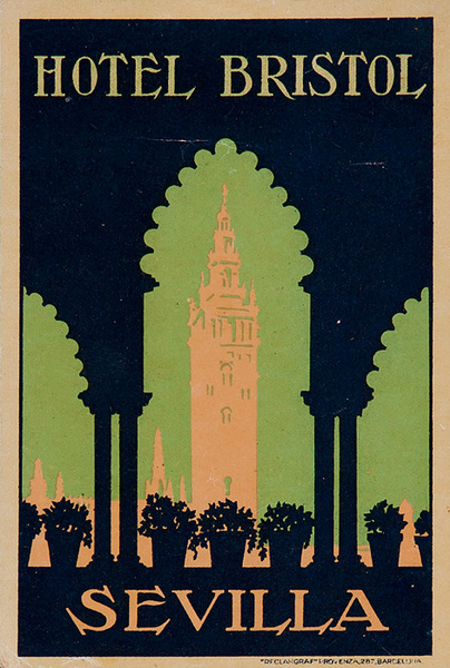Hotel Bristol Sevilla Spain Original Luggae Label