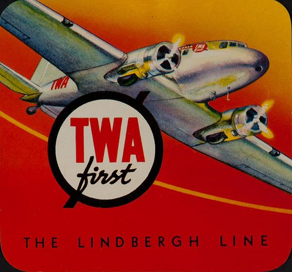 TWA First The Lindberh Line Original Luggae Label