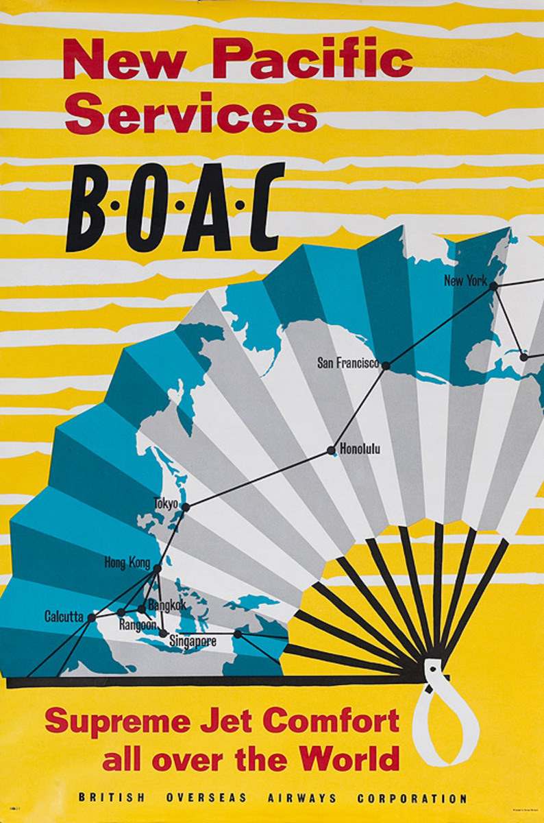 New Pacific Services BOAC Supreme Jet Comfort All Over the World Original Travel Poster
