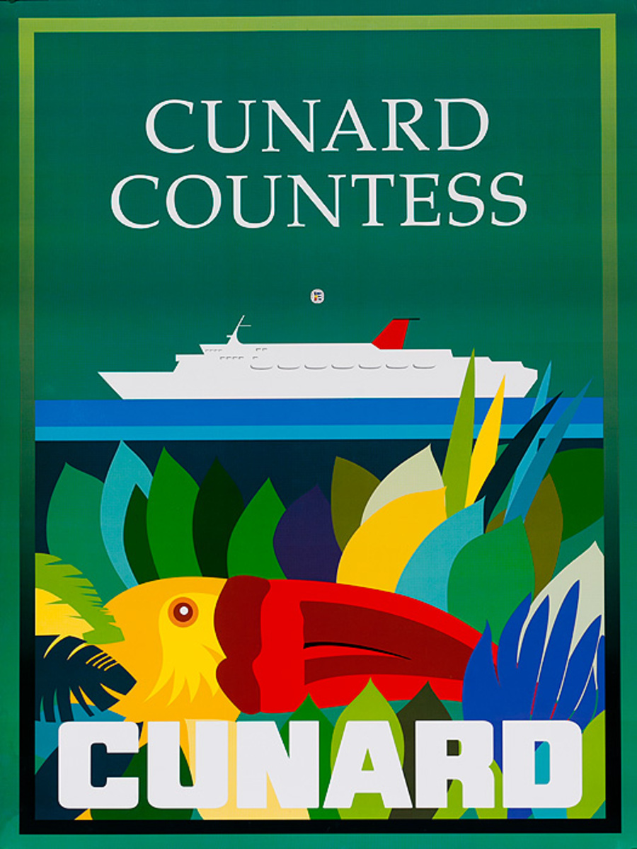 Original Cunard Cruise Lines Poster Cunard Countess
