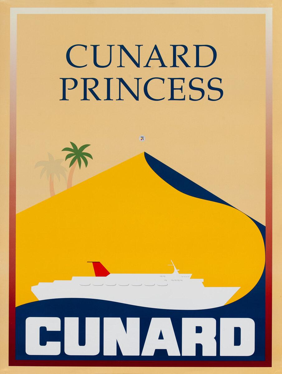 Original Cunard Cruise Lines Poster Cunard Princess