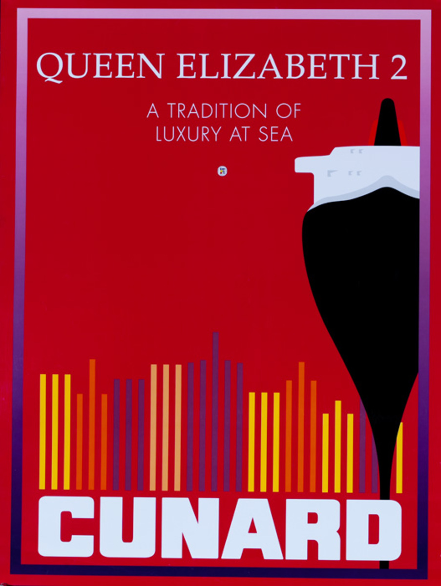Original Cunard Cruise Lines Poster Queen Elizabeth 2 <br>A Tradition of Luxury at Sea