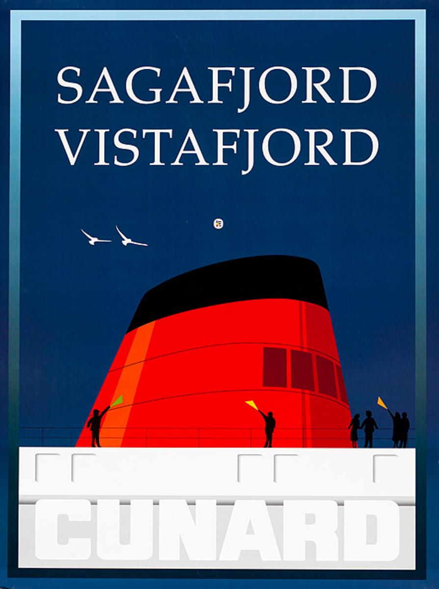 Original Cunard Cruise Lines Poster Sagafjord Vistafjord